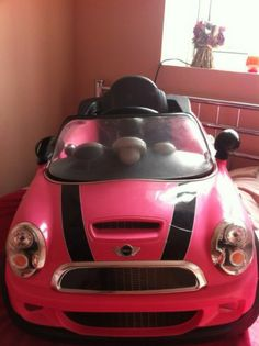 details about mini cooper cabriolet pink kids electric car 2