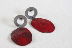 Irregular Earrings - Red Silver, copper and enamel