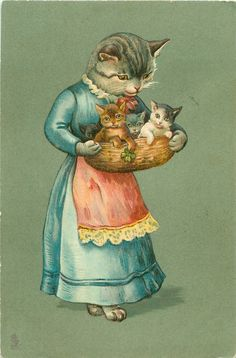 A MERRY CHRISTMAS mother cat in blue dress, red apron, holding basket containing four kittens, sweet Vintage Crazy Cat Lady, Crazy Cats, I Love Cats, Cool Cats, Mother Cat, Gatos Cats, Photo Chat, Cat Cards, Here Kitty Kitty