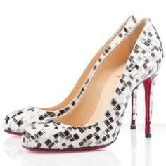 Christian Louboutin Fifi Sequin Pumps 100mm White