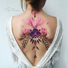 Gorgeous Back Tattoo Designs That Will Make You Look Stunning; Back Tattoos; Tattoos On The Back; Back tattoos of a woman; Little prince tattoos; Tatoo Floral, Floral Back Tattoos, Orchid Flower Tattoos, Tattoo Flowers, Backpiece Tattoo, Sternum Tattoo, Mandala Tattoo, Abdomen Tattoo, Spinal Tattoo