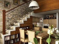 open plan kitchen dining room under stairs storage drawers shelves