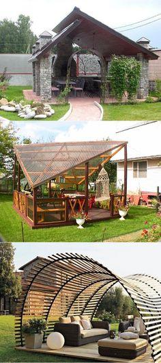 Patio Gazebo, Back Patio, Backyard Patio, Backyard Landscaping, Bbq Shed, Landscape Design, Garden Design, Indoor Outdoor, Outdoor Living