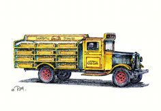 """""""Coca-Cola Truck - 1934"""" by Paul McGehee. Faithfully reproduced from McGehee's original color pencil drawing, this shows a classic 'White' Coca-Cola delivery truck from 1934. A limited edition of 500 hand-signed copies. Image size: 7"""" x 10"""". Price $50.00 S/N. Coke, Coca Cola, Transportation, Trucks, Classic White, Delivery, Pencil, Drawing, Image"""