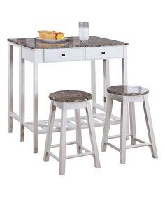 White Three-Piece Kitchen Island Set