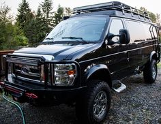 Awesome picture complements of Joe Pirelli.Aluminess gear all around.from roof rack to front and rear bumper, ladder, Storage box and Expedition kit! Lifted Trucks, Big Trucks, Ford Trucks, 4x4 Camper Van, 4x4 Van, Ambulance, Astro Van, Van Accessories, Bug Out Vehicle