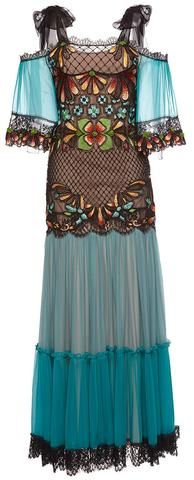 Blue Embroidered Cold-Shoulder Chiffon Gown