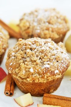Apple Cinnamon Crumb Muffins - moist, tender, and topped with buttery crumbs #meandmytea ad @bigelowtea