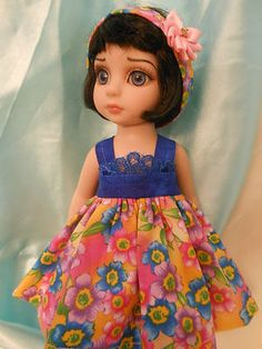 SUN DRESS WITH HAIR BAND, made to fit  10 inch Tonner Ann Estelle,Sophie, Patsy