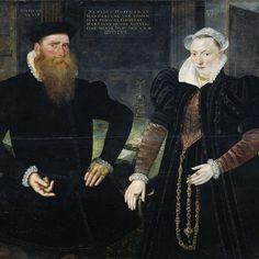 Portrait of Gillis Hooftman, Shipowner, and his Wife Margaretha van Nispen (Gilles van Eichelenberg, called Hoffman), Maerten de Vos, 1570 - Rijksmuseum