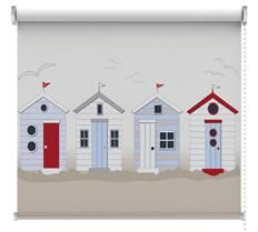 Beach Huts Cushion (Beach Huts) - Digetex Cushions - Coastal collection – a fun art print of 4 blue, white and red beach huts. Printed on Cotton Panama. square – supplied with feather pad. Bauhaus, Beach Hut Interior, Arte Latina, Art Nouveau, British Beaches, Hut House, Pottery Houses, Beach Wallpaper, Wallpaper Murals