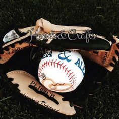 Personalized embroidered baseball for a husband and wife to be! ⚾️