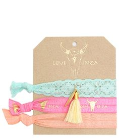 Ibiza elastiekjes van het hippy label 'Love Ibiza'.Draag de elastiekjes in je haar of leuk als armbandje.De bandjes zijn handgeknoopt en van zacht en glanzend elastiek.