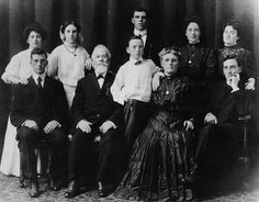 This 1908 photograph shows the Flanagan family in Omaha, Nebraska. Front row left to right, Edward, John, Michael, Honora, and Father Patrick. Back row left to right, Delia, Theresa, James, Nellie, and Susan. | BoysTown.org