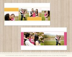 Instant Download 12x12 Album Template - Color Blocks and Stitching Accent - 20 pages - PT070