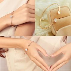 2016 high quality heart with double heart bracelet crystal love opening gold plated bracelet female Accessories S2