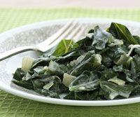 Creamed Collard Greens - the perfect Southern side   CSA crops: collard greens or Swiss chard, garlic