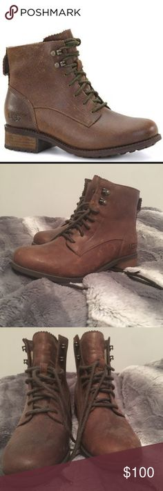 UGG Denhali lined lace up boots NEVER WORN WITHOUT TAGS Never wore them, not my style Extremely fuzzy to keep your feet warm through winter Water proof also!! UGG Shoes Winter & Rain Boots