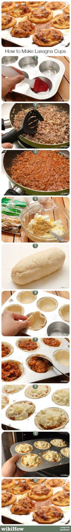 How to Make Lasagna Cups -- these would be good at a party.