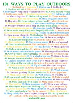 101 Ways to Have Fun Outdoors Printable