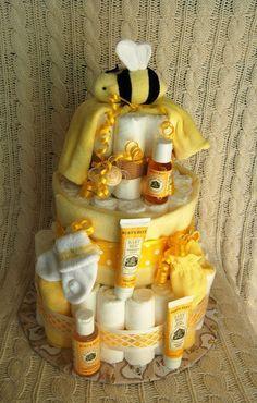 bumble bee theme birthday / shower decor ideas. blck and yellow cake