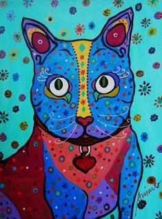 Folk Art Painting Mexican Kitty Talavera Cat Original by prisarts, $150.00