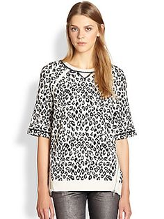 Marc by Marc Jacobs Sasha Graphic Leopard-Print Sweatshirt/White