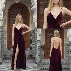 Modest Prom Dress,Long Prom Dresses,Burgundy Evening Dress,Sexy Spaghetti Straps Slit Evening Dress · Show Fashion · Online Store Powered by Storenvy Prom Dresses Long Modest, V Neck Prom Dresses, Sexy Dresses, Fashion Dresses, Dress Long, Party Gowns, Party Dress, Prom Party, Mode Ulzzang