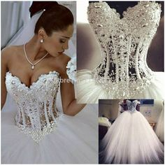 Romantic Princess Lace with Beading Ball Gown Bows Crystal Long Bridal Dress