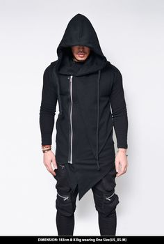Tops :: Slim Unbalance Cut Hooded Rope Vest-Hoodie 172 - Mens Fashion Clothing For An Attractive Guy Look