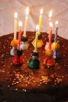 Birthday cake with candle holders