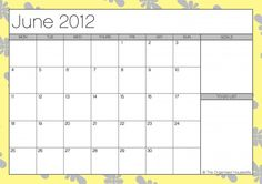 Free Printable - June 2012 Calendar from The Organised Housewife