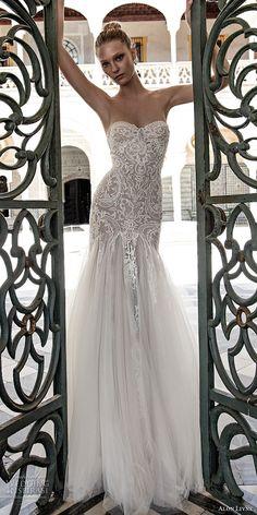 alon livne 2017 bridal strapless sweetheart neckline heavily embroidered bodice elegant romantic fit flare mermaid wedding dress sweep train (helen) mv