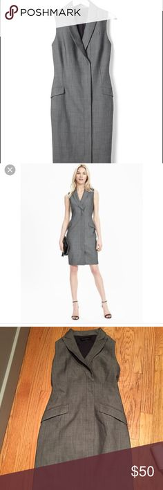 Banana Republic Sleeveless Tux Dress Only worn once banana republic grey Sleeveless tux dress. It's 95% wool so seasonless and classic! I would keep but I'm only 5 feet and this dress goes below my knees. In perfect condition. This is a great dress for work but can be made casual with cute sneakers! Banana Republic Dresses
