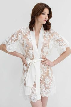 Image of Rosa French lace kimono robe in Off-white - style #R97SS
