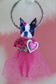 Boston Terrier Valentine Ornament Feather Tree by TreePets on Etsy