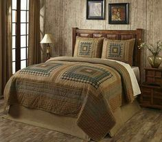 The Earthtone Log Cabin King Quilt Set by Olivia's Heartland features ta log cabin block design in various neutral shades of tans, browns, grays, and greens in King Size Quilt Sets, Large Log Cabins, Log Cabin Patchwork, Easy Home Decor, Quilt Bedding, Home Bedroom, Bedroom Ideas, Master Bedroom, Bed Spreads