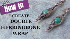 How to Create Double Herringbone Wrap. Learn how to create double herringbone wrap on your beads with my tutorial. Wire Wrapped Earrings, Wire Earrings, Wire Wrapped Pendant, Wire Bracelets, Beaded Bracelet, Wire Weaving Tutorial, Bijoux Fil Aluminium, Wire Tutorials, Gifs