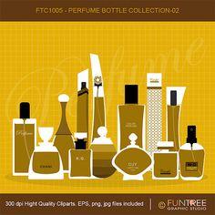 Perfume bottles Glass bottle Elegant Golden by FuntreeDesign