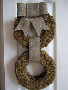 Moss Wreath with Burlap Ribbon