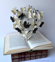 The Tree of Butterflies - Book Art - Book Sculpture - Altered Book