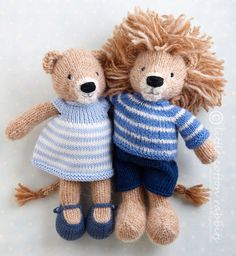 Lionpair Knitted Dolls, Crochet Toys, Free Knitting, Baby Knitting, Knitting Stitches, Animal Knitting Patterns, Bear Patterns, Knitting Projects, Sewing Projects