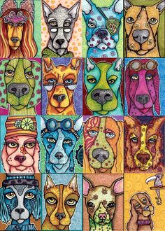 Art Card Dogs Project | Could this be a HOWE bulldog possibility? 4th grade Classes Project- Mural? Words in the bkgrd?