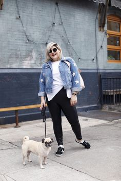 Wearing: Leggings by Lysse (another version available here), One A Plus Scoop Neck Tank, Bagatelle Denim Jacket, Adidas Sneakers, Miu Miu Sunglasses As the