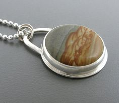 RESERVED  Picture Jasper Necklace Sterling Silver  by AmityJewelry