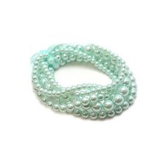 Blythe's Aqua Faux Pearl Stretch Bracelet Set and other apparel, accessories and trends. Browse and shop 8 related looks. Pearl Love, Pearl And Lace, Blue Pearl, Pearl Color, Mint Color, Mint Green, Aqua Blue, Pastel Blue, Pearl Jewelry