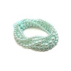 Blythe's Aqua Faux Pearl Stretch Bracelet Set (£14) ❤ liked on Polyvore featuring jewelry, bracelets, fillers, accessories, blue, sapphire & aqua jewelry, aqua blue jewelry, aqua jewelry, fake pearl jewelry and fantasy jewelry box