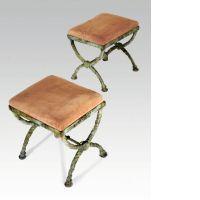 Diego GIACOMETTI 1902 - 1985 Paire de tabourets en X, troisième version Bronze à…