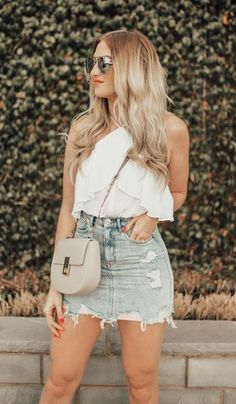 trendy summer outfit with a denim skirt