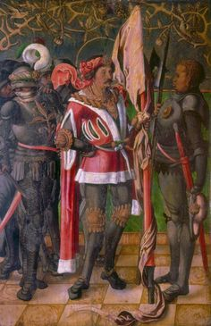 Germany (1515) Master of the Goslar Sibyls -   Saint Maurice and the Theban Legion.    Oil on Wood, 144 x 65 cm.  Museum of Fine Arts, Boston. http://www.mfa.org/collections/object/the-calenberg-altarpiece-469980